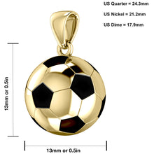 Soccer Ball Necklace - Football Pendant In  Yellow Gold  graph