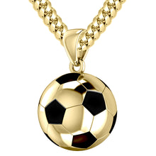 14K Yellow Gold 3D Soccer Ball Football Pendant Necklace