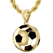 10K Yellow Gold 3D Soccer Ball Football Pendant Necklace