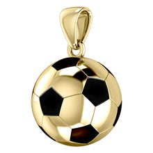 Extra Large 10K or 14K Yellow Gold 3D Soccer Ball Football Pendant Necklace