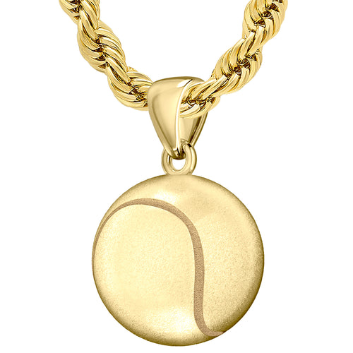Yellow Gold 3D Tennis Ball Pendant Necklace