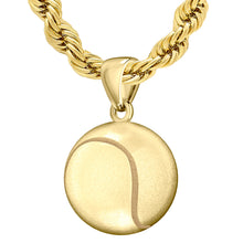 Large 10K or 14K Yellow Gold 3D Tennis Ball Pendant Necklace, 18.5mm