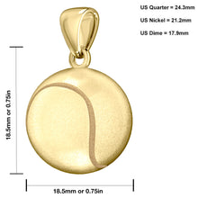 14K Yellow Gold 3D Tennis Ball Pendant Necklace