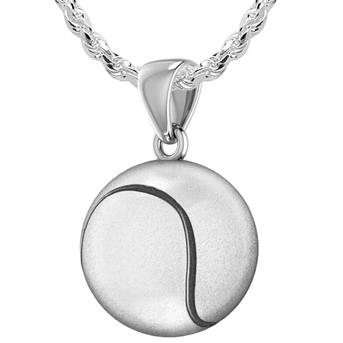 Tennis Ball Necklace Of Silver In 3D - 2.2mm Rope Chain