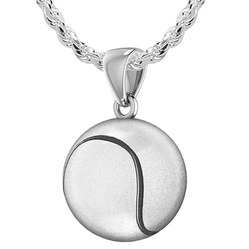 Tennis Ball Necklace In Sterling Silver - 1.5mm Rope Chain