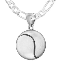 Tennis Ball Necklace In Sterling Silver - 1.8mm Figaro Chain