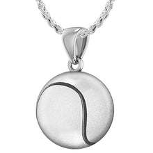 Tennis Ball Necklace In Sterling Silver - 1mm Rope Chain