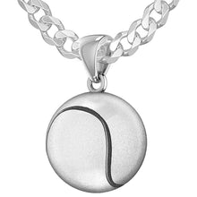 Tennis Ball Necklace In Sterling Silver - 2.2mm Curb Chain
