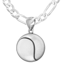 Tennis Ball Necklace In Sterling Silver - 2.3mm Figaro Chain