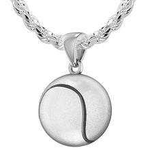 Tennis Ball Necklace In Sterling Silver - 2.3mm Rope Chain