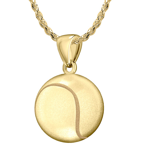 Tennis ball Necklace - Yellow Gold Pendant Necklace In 3D