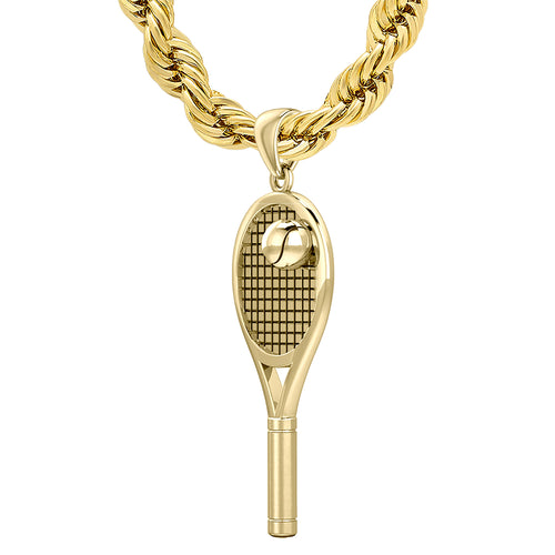 Tennis Racket Necklace Of Gold With Ball