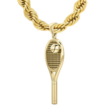 Large 10K or 14K Yellow Gold 3D Tennis Racket & Ball Pendant Necklace, 42mm
