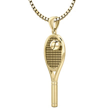 3D Tennis Racket & Ball Pendant Necklace