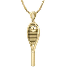 Gold 3D Tennis Racket & Ball Pendant Necklace