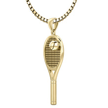 Yellow Gold 3D Tennis Racket & Ball Pendant Necklace