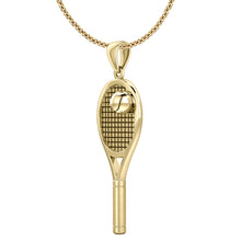 Yellow Gold Tennis Racket & Ball Pendant Necklace