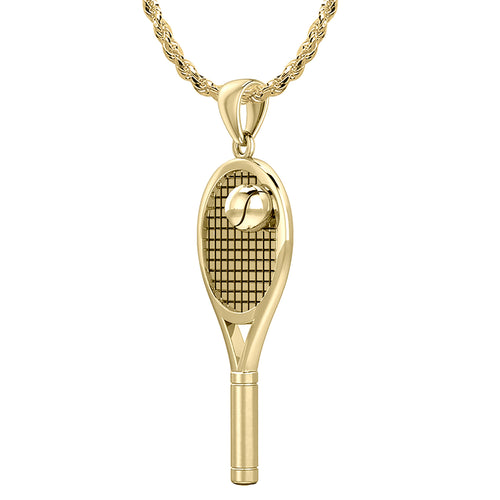 Real tennis racket - Yellow Gold Pendant Necklace In 3D