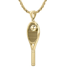 3D Tennis Racket & Ball Pendant Necklace, 27mm