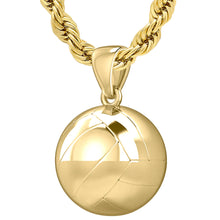 Yellow Gold 3D Volley Ball Pendant Necklace