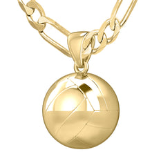 14K Yellow Gold Volley Ball Pendant Necklace