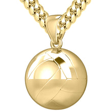Large 10K Yellow Gold Volley Ball Pendant Necklace