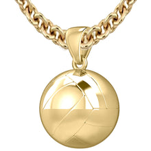 Large 10K Yellow Gold 3D Volley Ball Pendant Necklace