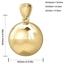 14K Yellow Gold 3D Volley Ball Pendant Necklace