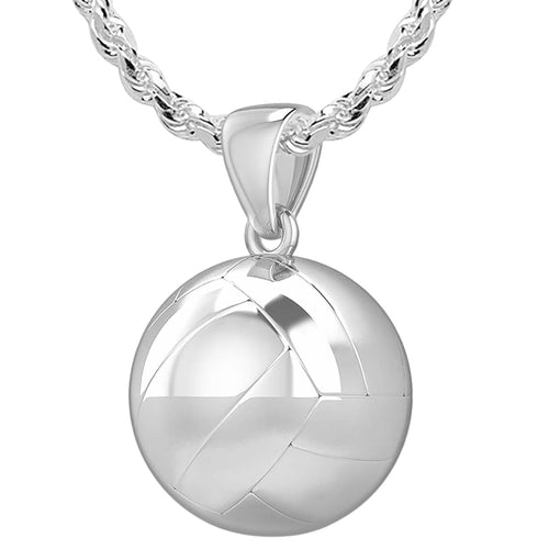 Volley Ball Necklace - Silver Pendant Necklace In 3D 1.5mm Rope