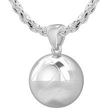 Large 925 Sterling Silver 3D Volley Ball Pendant Necklace, 18.5mm