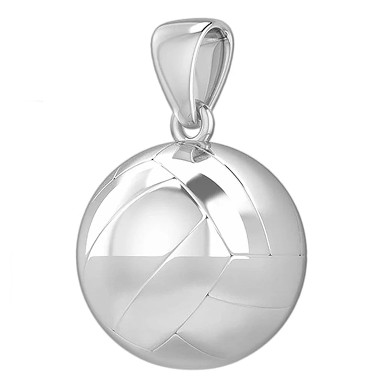 Small 925 Sterling Silver 3D Volley Ball Pendant Necklace, 13mm