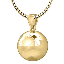 Gold 3D Volley Ball Pendant Necklace, 13mm
