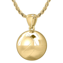 Small 10K or 14K Yellow Gold Volley Ball Pendant Necklace