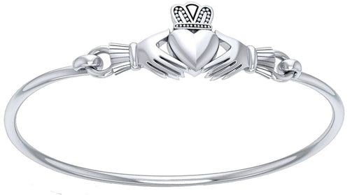Sterling Silver Bangle Bracelet - Irish Claddagh Bracelet