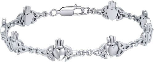 Link Bracelet - Claddagh Bracelet With 0.925 Purity