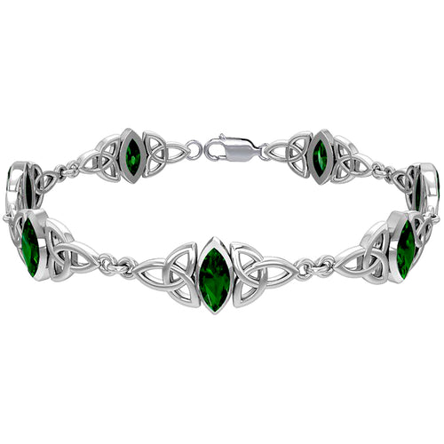 Knot Bracelet  With Emerald Gemstone - Silver