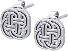 Stud Earrings Irish Celtic Endless or Love Knot - Full View