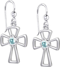 Cross Earrings With Birthstone - Aquamarine