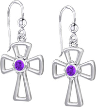 Cross Earrings With Birthstone - Amethyst