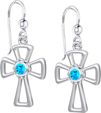 Cross Earrings With Birthstone - Blue Topaz