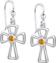 Cross Earrings With Birthstone - Citrine