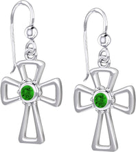 Cross Earrings With Birthstone - Emerald