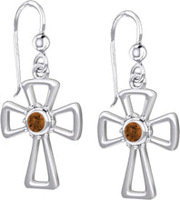 Cross Earrings With Birthstone - Garnet