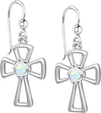 Cross Earrings With Birthstone - Opal
