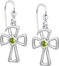 Cross Earrings With Birthstone - Peridot