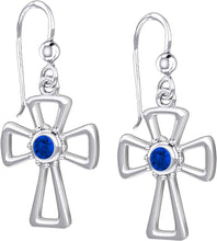 Cross Earrings With Birthstone - Sapphire