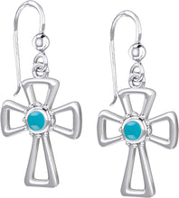 Cross Earrings With Birthstone For Sale - Aquamarine