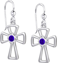 Cross Earrings With Birthstone - Tanzanite