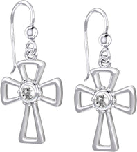Cross Earrings With Birthstone - White Sapphire