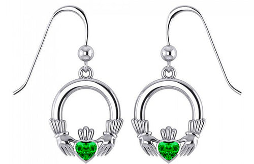 0.925 Sterling Silver Irish Celtic Claddagh Dangle Earrings with Simulated Emeralds - US Jewels